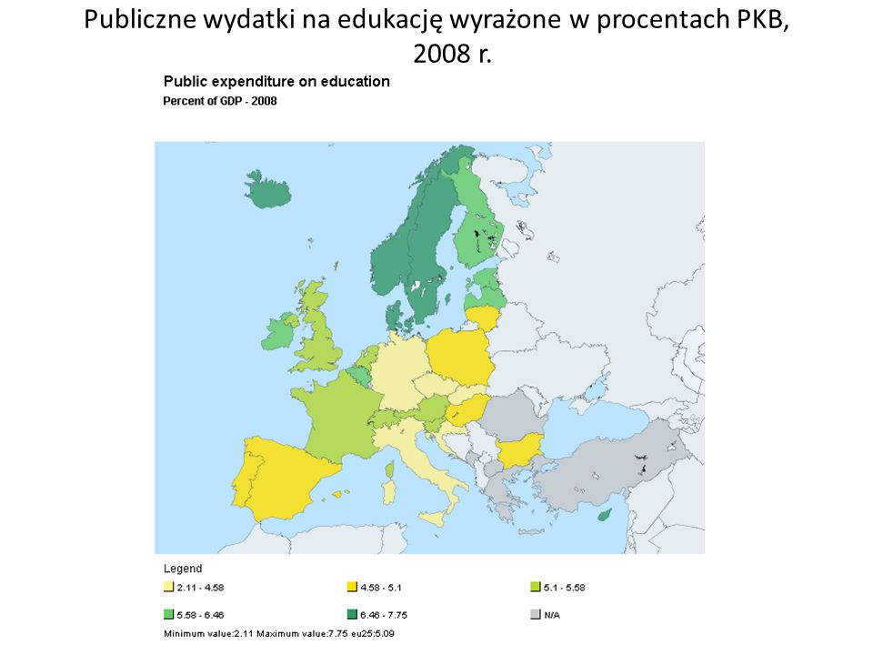 Publiczne wydatki na edukację wyrażone w procentach PKB, 2008 r.