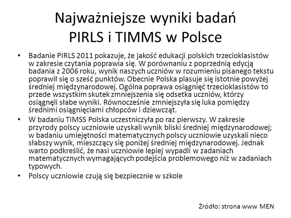 Najważniejsze wyniki badań PIRLS i TIMMS w Polsce