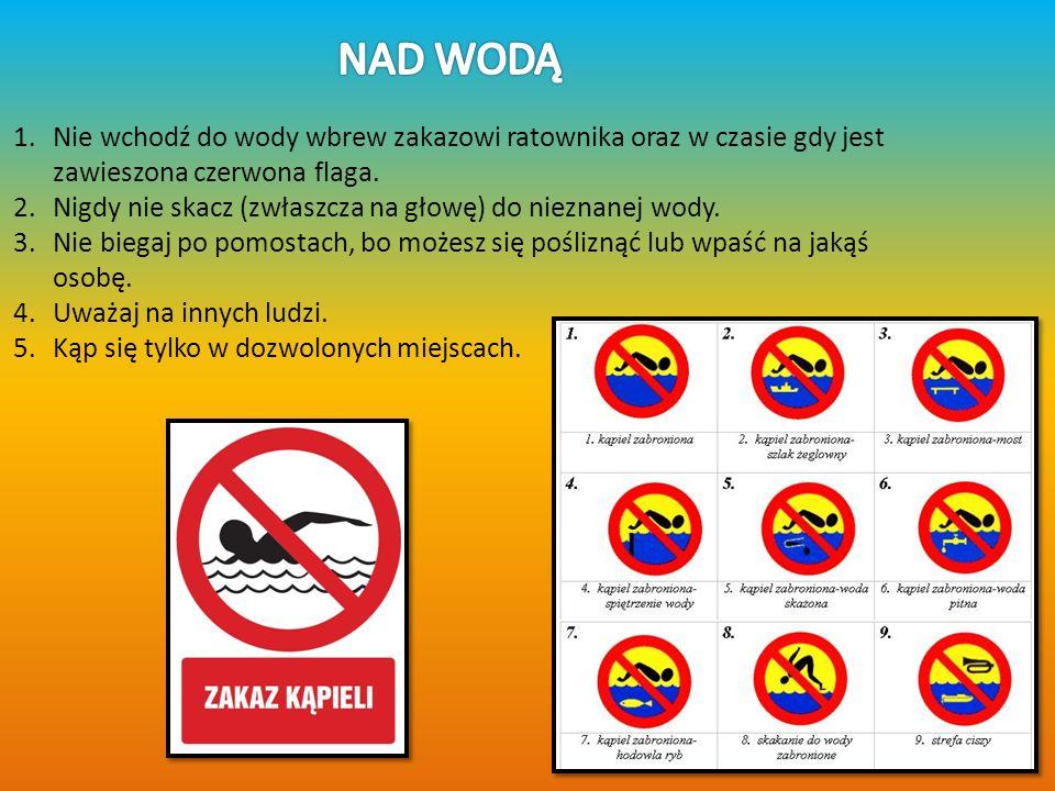 NAD WODĄ Nie wchodź do wody wbrew zakazowi ratownika oraz w czasie gdy jest zawieszona czerwona flaga.