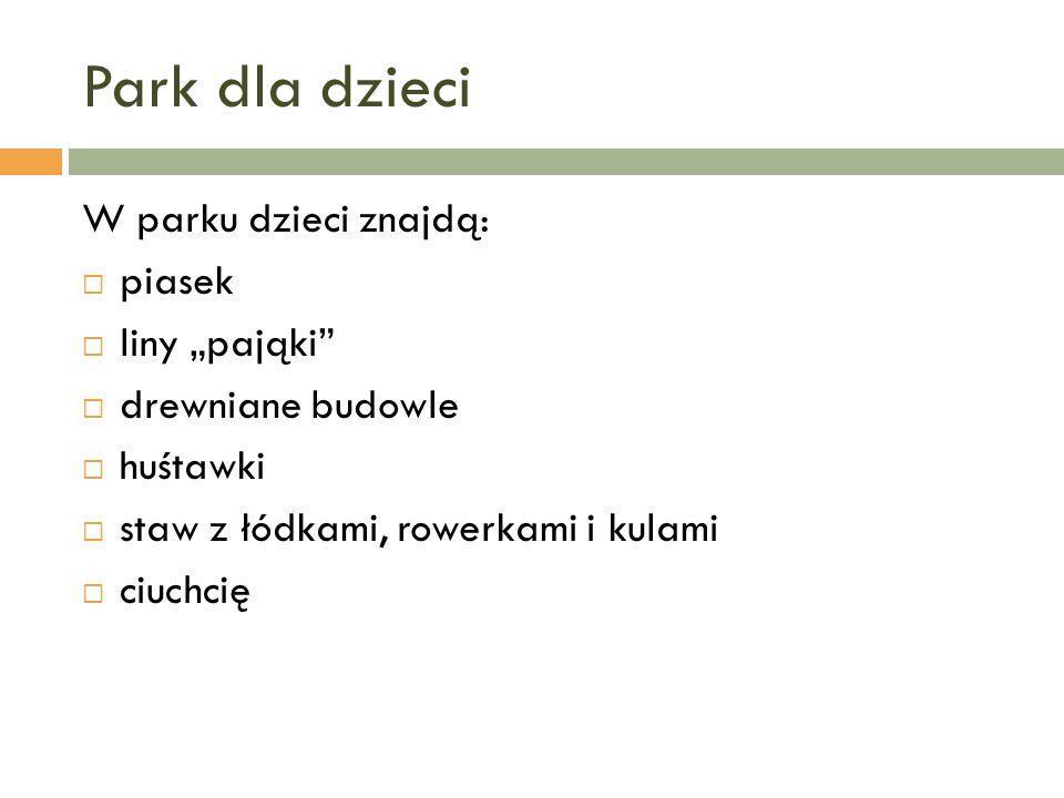 """Park dla dzieci W parku dzieci znajdą: piasek liny """"pająki"""