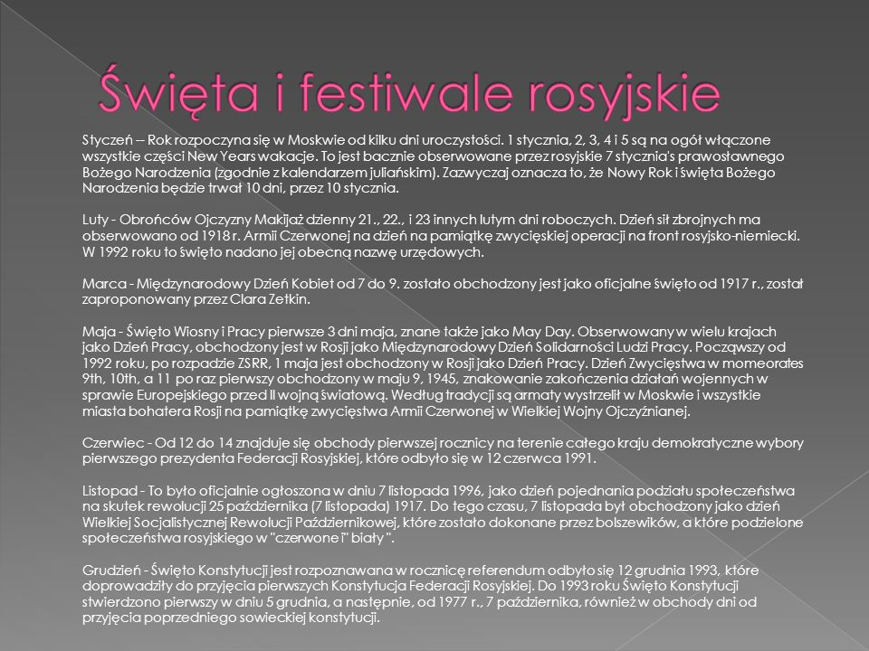 Święta i festiwale rosyjskie