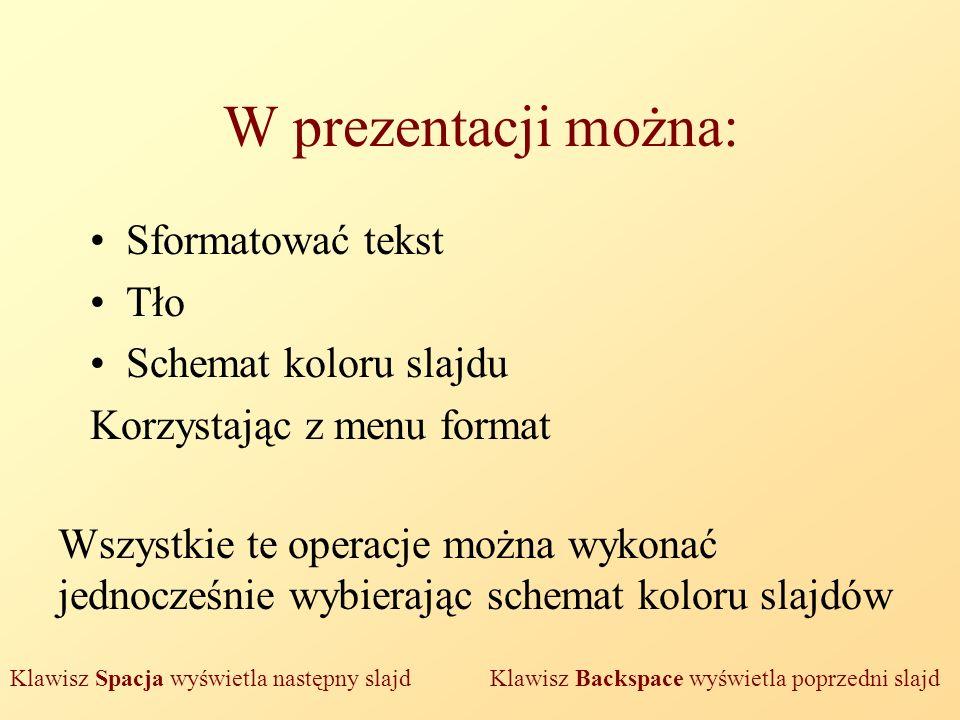 W prezentacji można: Sformatować tekst Tło Schemat koloru slajdu