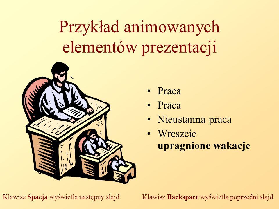 Przykład animowanych elementów prezentacji