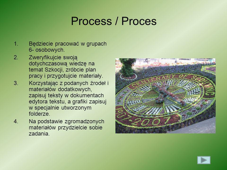 Process / Proces Będziecie pracować w grupach 6- osobowych.