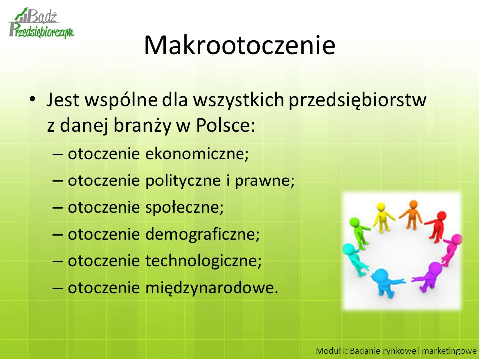 Makrootoczenie Jest wspólne dla wszystkich przedsiębiorstw z danej branży w Polsce: otoczenie ekonomiczne;
