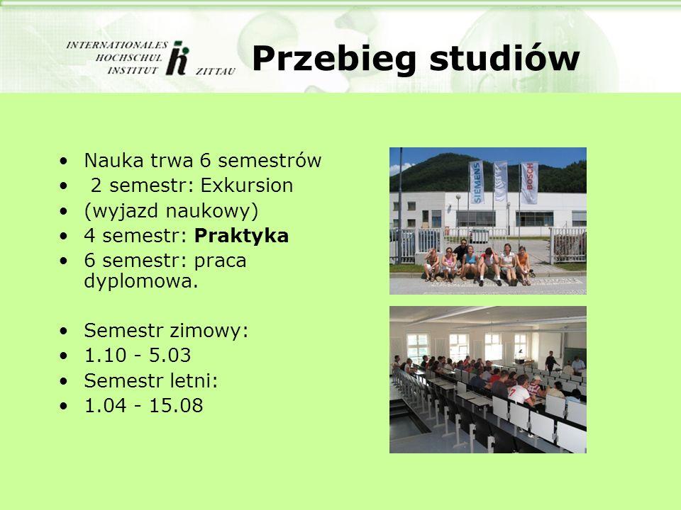Przebieg studiów Nauka trwa 6 semestrów 2 semestr: Exkursion