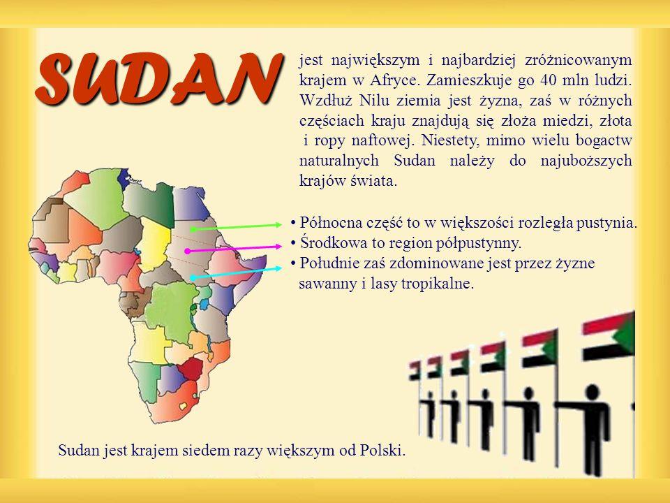 Sudan jest krajem siedem razy większym od Polski.