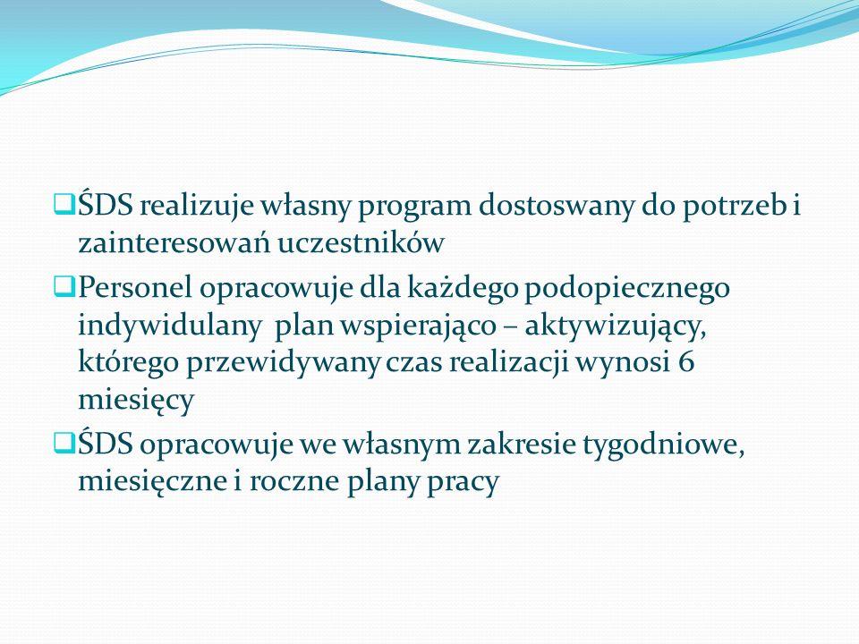 ŚDS realizuje własny program dostoswany do potrzeb i zainteresowań uczestników