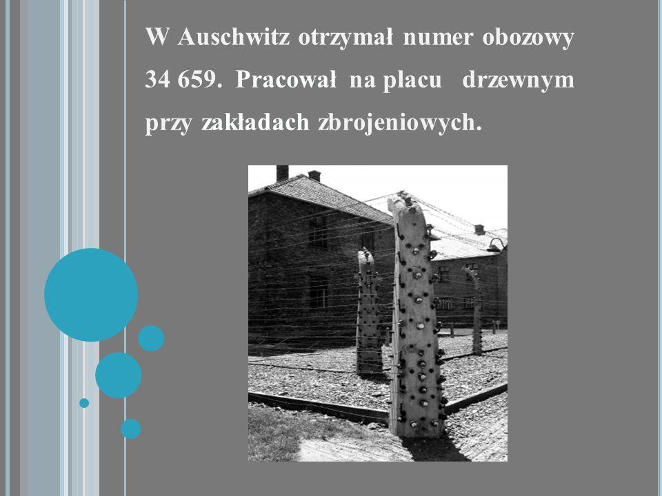 W Auschwitz otrzymał numer obozowy