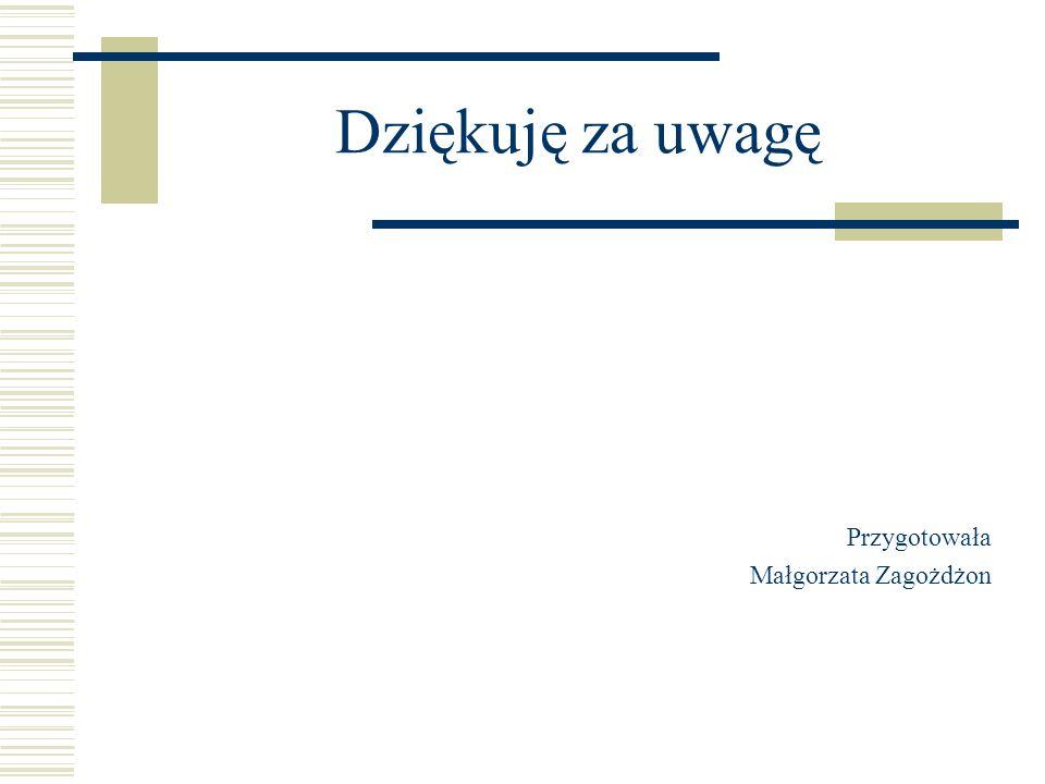 Dziękuję za uwagę Przygotowała Małgorzata Zagożdżon