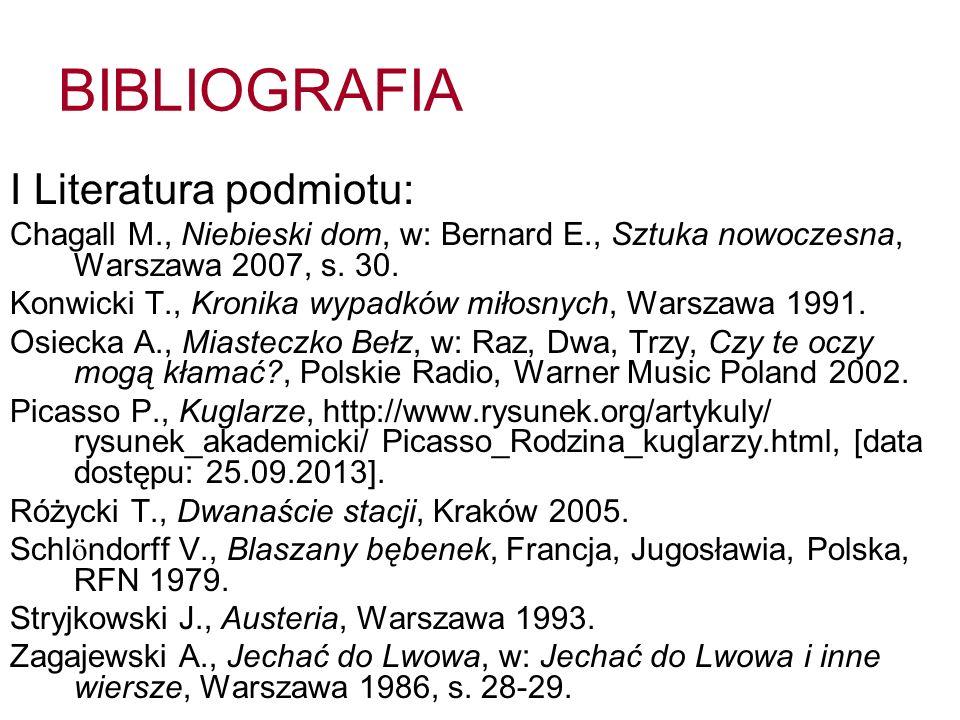 BIBLIOGRAFIA I Literatura podmiotu: