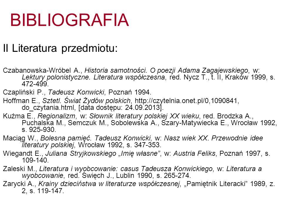 BIBLIOGRAFIA II Literatura przedmiotu: