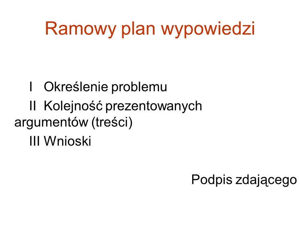 Ramowy plan wypowiedzi