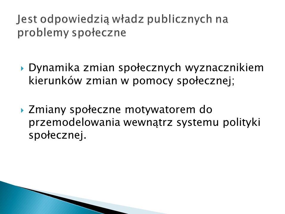 Jest odpowiedzią władz publicznych na problemy społeczne