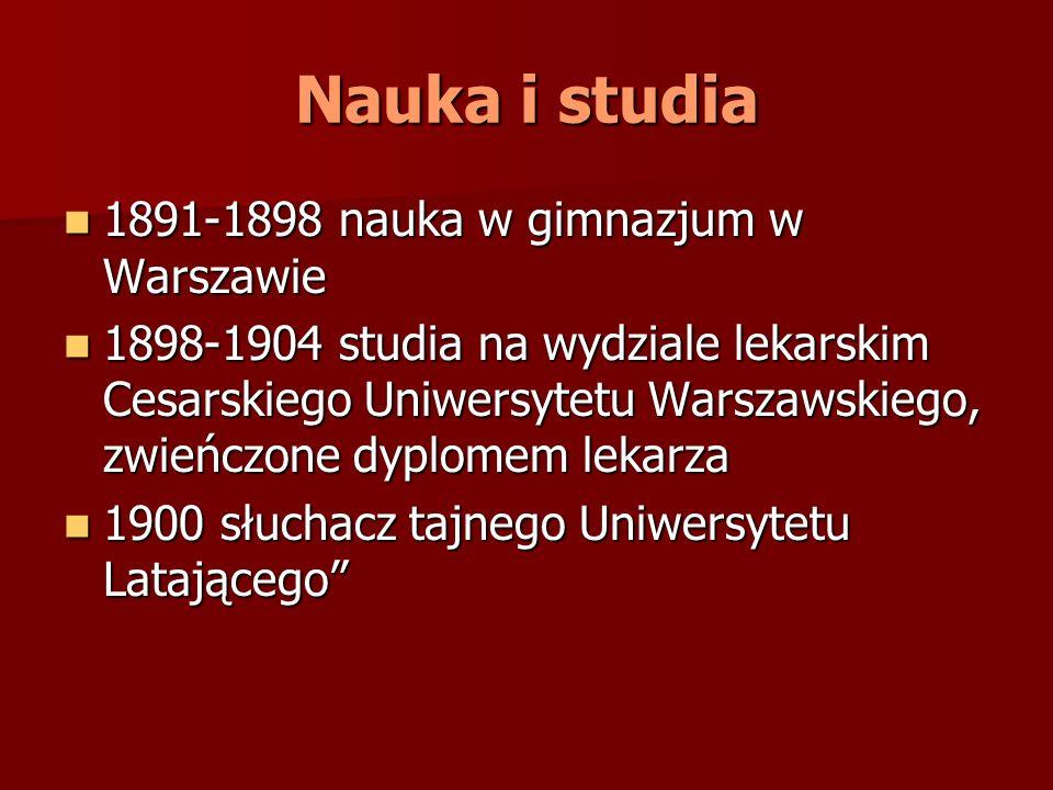 Nauka i studia 1891-1898 nauka w gimnazjum w Warszawie