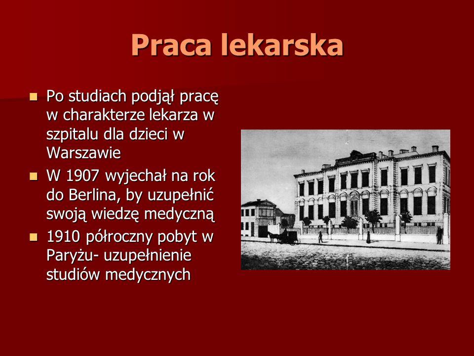 Praca lekarska Po studiach podjął pracę w charakterze lekarza w szpitalu dla dzieci w Warszawie.