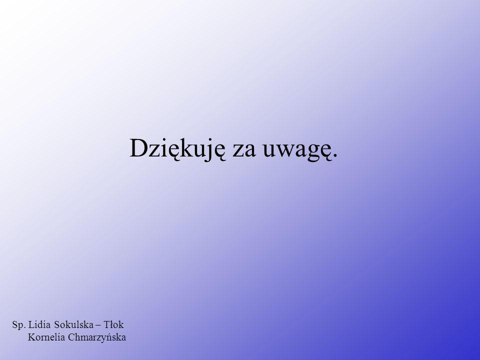 Dziękuję za uwagę. Sp. Lidia Sokulska – Tłok Kornelia Chmarzyńska