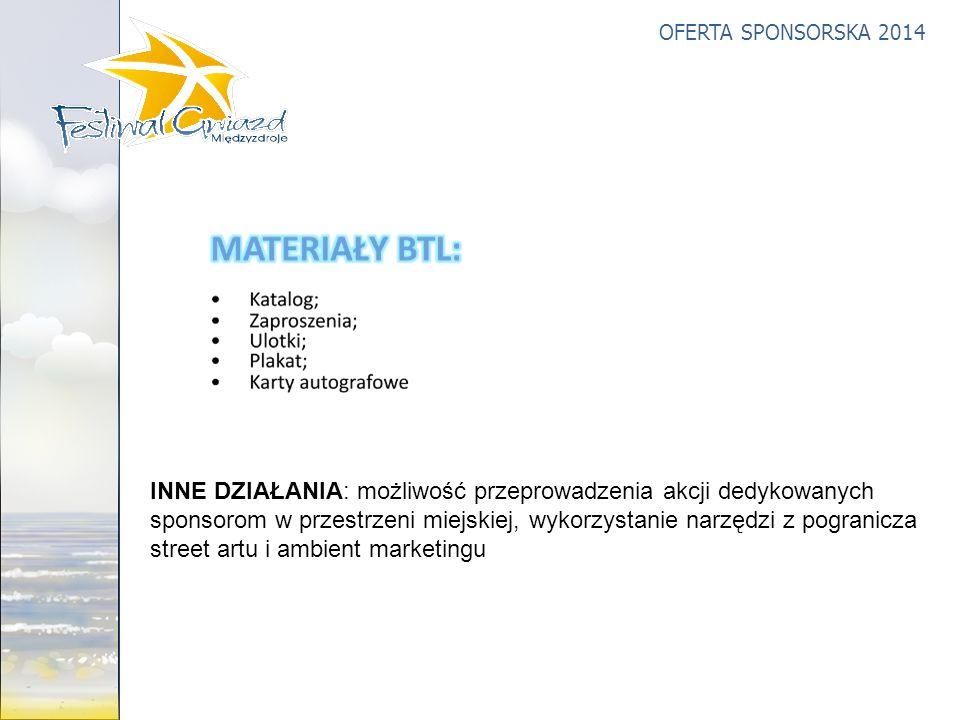 INNE DZIAŁANIA: możliwość przeprowadzenia akcji dedykowanych sponsorom w przestrzeni miejskiej, wykorzystanie narzędzi z pogranicza street artu i ambient marketingu