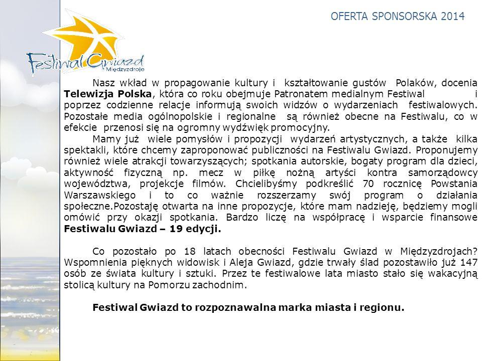 Nasz wkład w propagowanie kultury i kształtowanie gustów Polaków, docenia Telewizja Polska, która co roku obejmuje Patronatem medialnym Festiwal i poprzez codzienne relacje informują swoich widzów o wydarzeniach festiwalowych. Pozostałe media ogólnopolskie i regionalne są również obecne na Festiwalu, co w efekcie przenosi się na ogromny wydźwięk promocyjny.