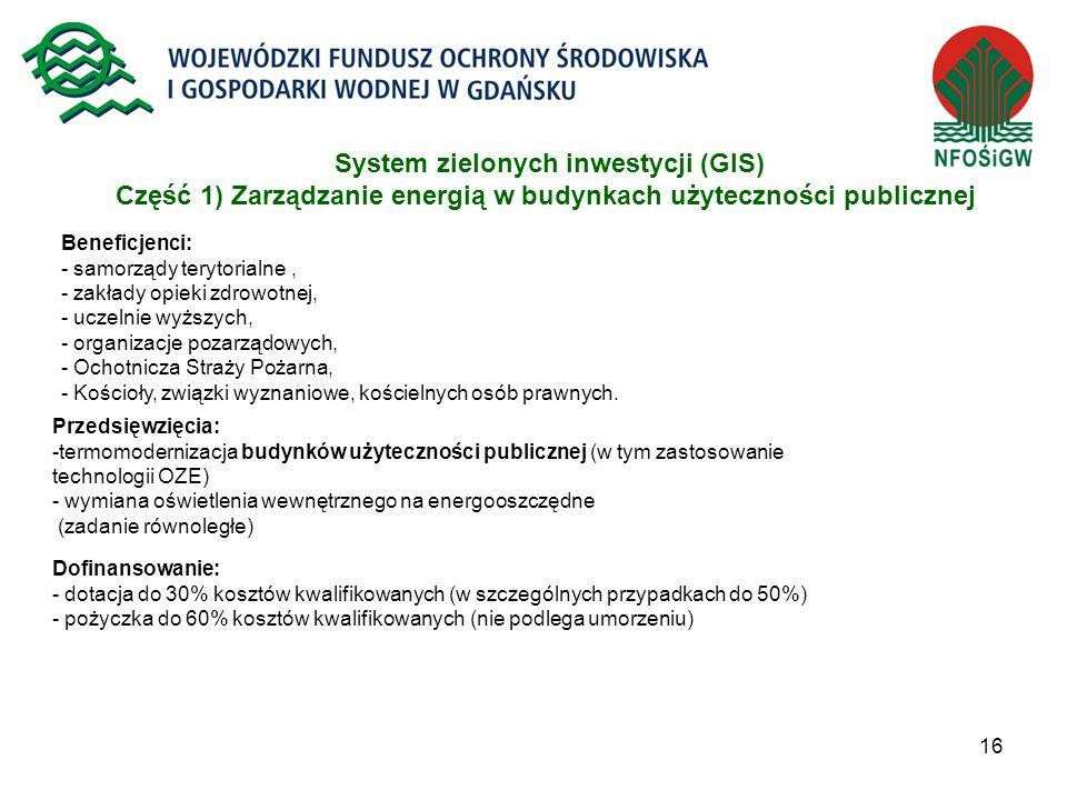 System zielonych inwestycji (GIS) Część 1) Zarządzanie energią w budynkach użyteczności publicznej