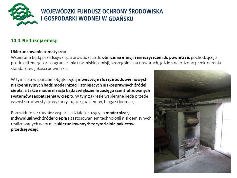 10.3. Redukcja emisji Ukierunkowanie tematyczne.