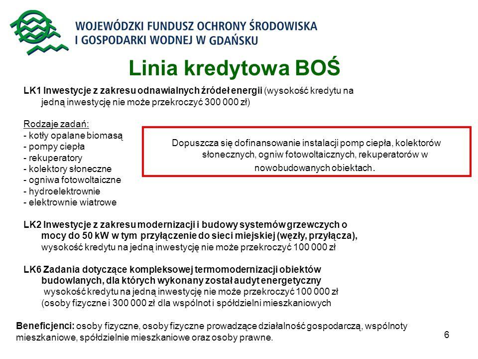 Linia kredytowa BOŚ LK1 Inwestycje z zakresu odnawialnych źródeł energii (wysokość kredytu na jedną inwestycję nie może przekroczyć 300 000 zł)