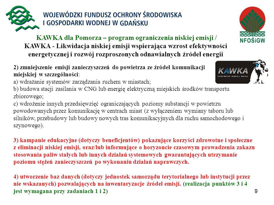 KAWKA dla Pomorza – program ograniczenia niskiej emisji / KAWKA - Likwidacja niskiej emisji wspierająca wzrost efektywności energetycznej i rozwój rozproszonych odnawialnych źródeł energii