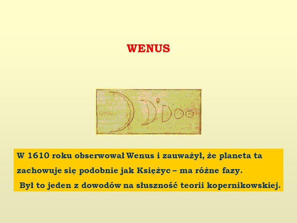 WENUS W 1610 roku obserwował Wenus i zauważył, że planeta ta