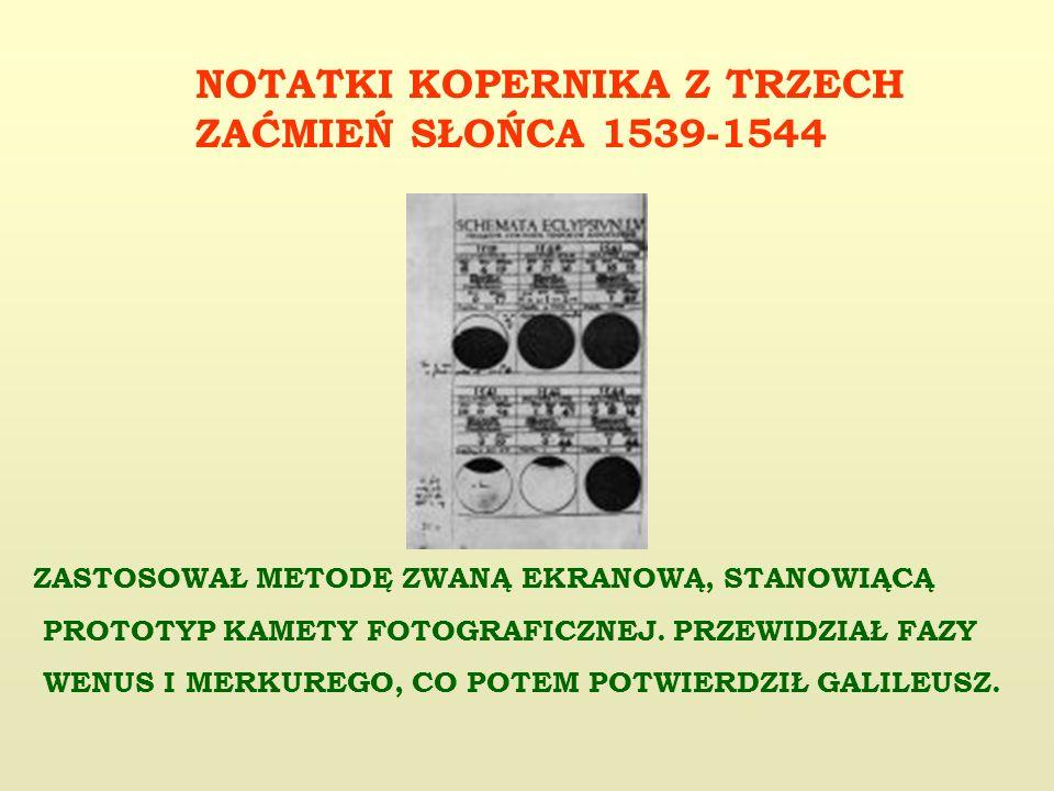 NOTATKI KOPERNIKA Z TRZECH ZAĆMIEŃ SŁOŃCA 1539-1544