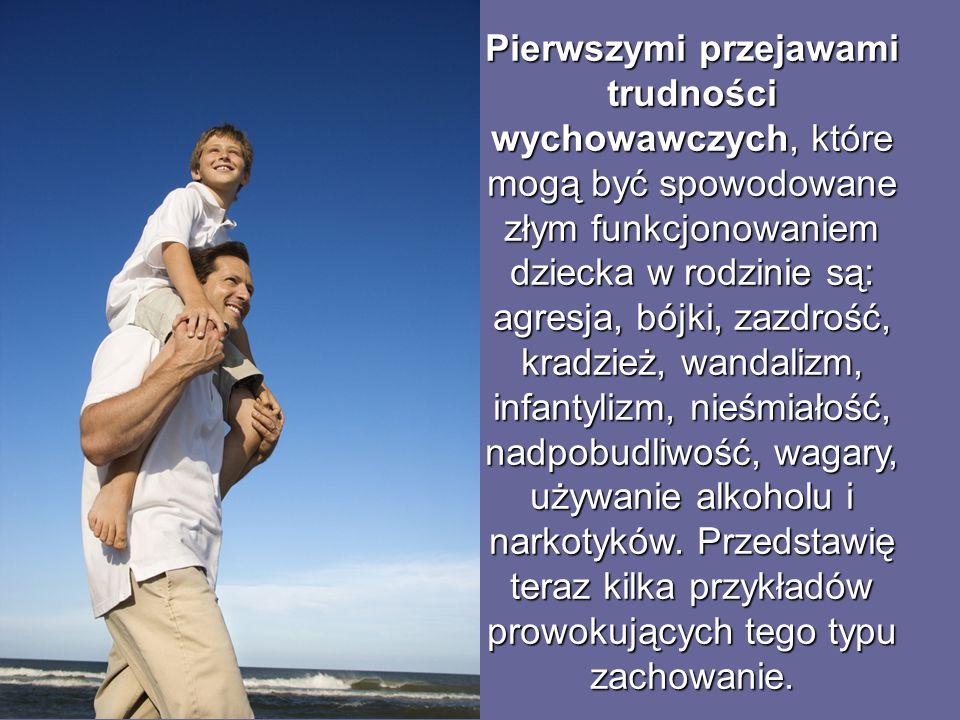 Pierwszymi przejawami trudności wychowawczych, które mogą być spowodowane złym funkcjonowaniem dziecka w rodzinie są: agresja, bójki, zazdrość, kradzież, wandalizm, infantylizm, nieśmiałość, nadpobudliwość, wagary, używanie alkoholu i narkotyków.