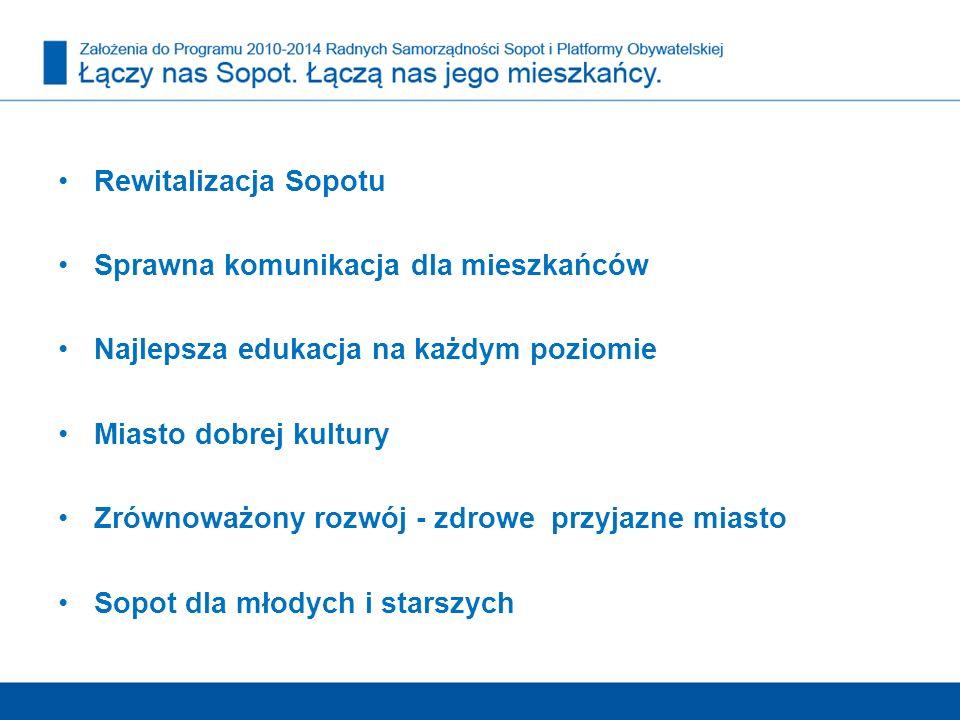 Rewitalizacja Sopotu Sprawna komunikacja dla mieszkańców. Najlepsza edukacja na każdym poziomie. Miasto dobrej kultury.