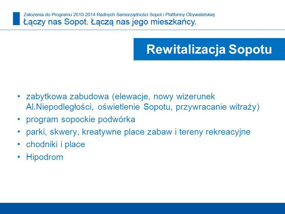 Rewitalizacja Sopotu zabytkowa zabudowa (elewacje, nowy wizerunek Al.Niepodległości, oświetlenie Sopotu, przywracanie witraży)