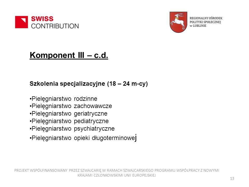 Komponent III – c.d. Szkolenia specjalizacyjne (18 – 24 m-cy)