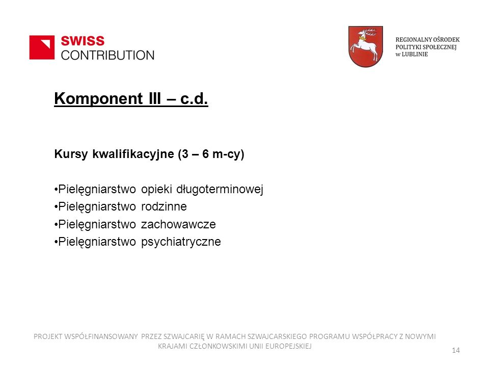 Komponent III – c.d. Kursy kwalifikacyjne (3 – 6 m-cy)