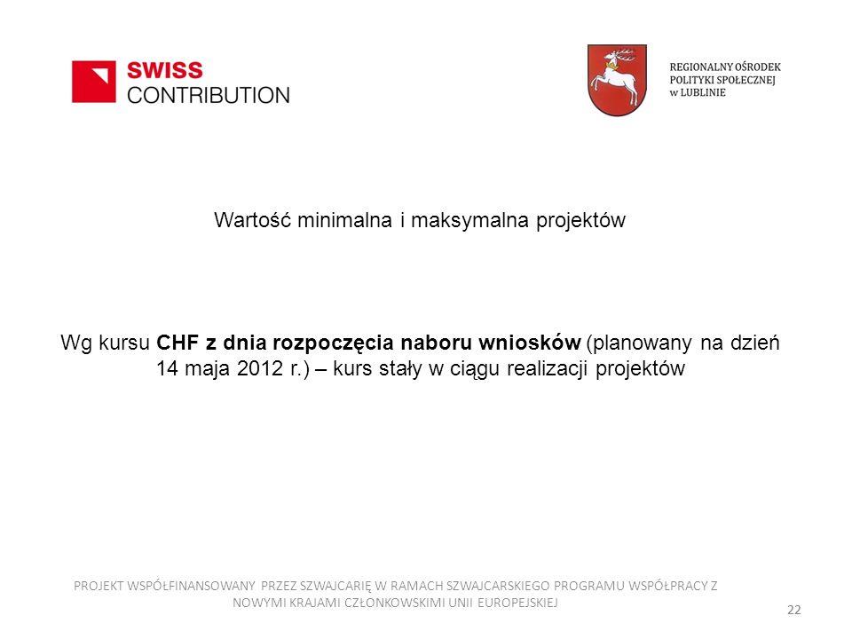 Wartość minimalna i maksymalna projektów Wg kursu CHF z dnia rozpoczęcia naboru wniosków (planowany na dzień 14 maja 2012 r.) – kurs stały w ciągu realizacji projektów