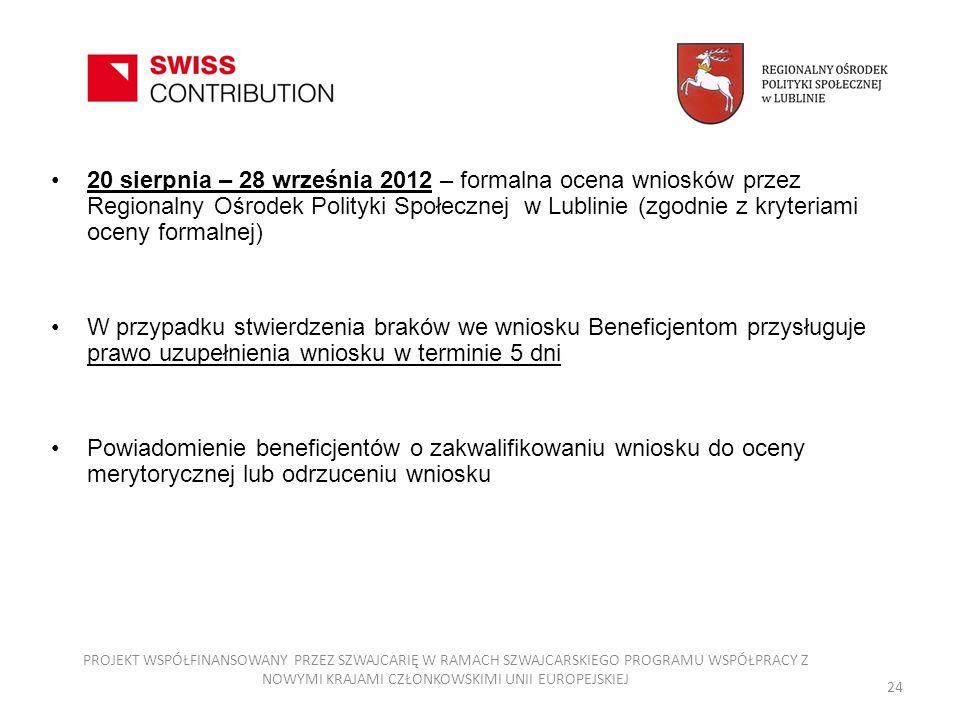20 sierpnia – 28 września 2012 – formalna ocena wniosków przez Regionalny Ośrodek Polityki Społecznej w Lublinie (zgodnie z kryteriami oceny formalnej)