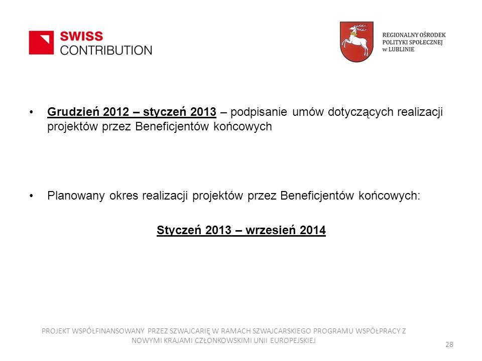 Planowany okres realizacji projektów przez Beneficjentów końcowych: