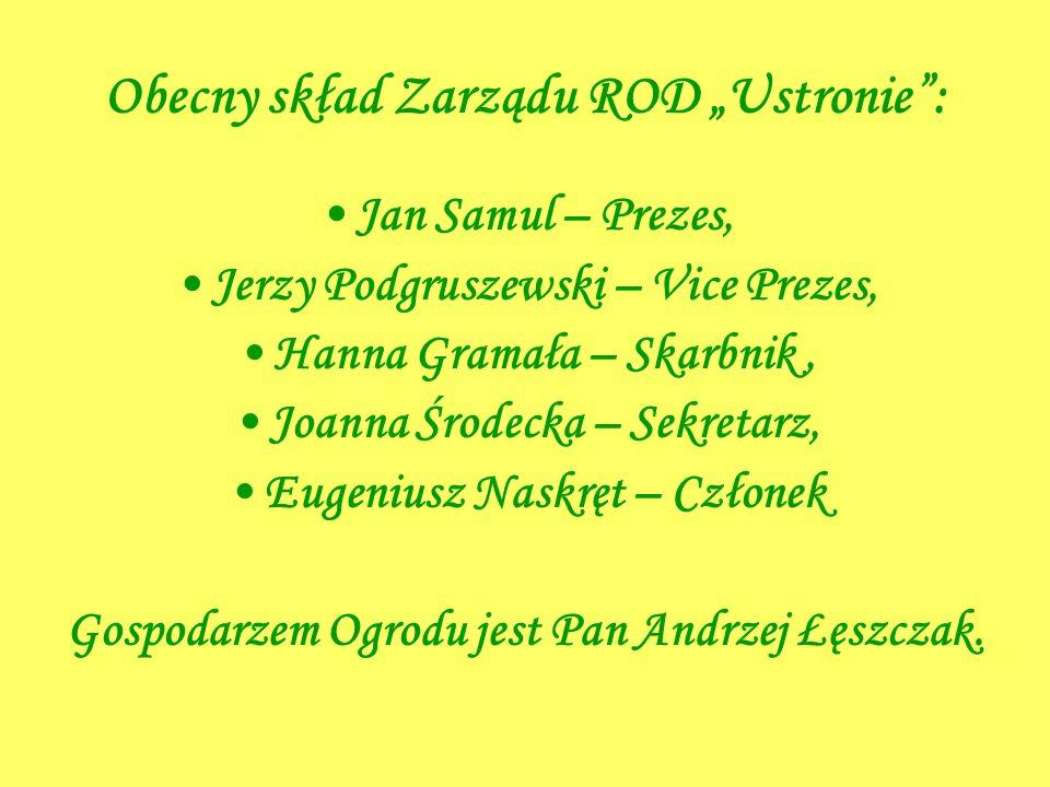 """Obecny skład Zarządu ROD """"Ustronie :"""