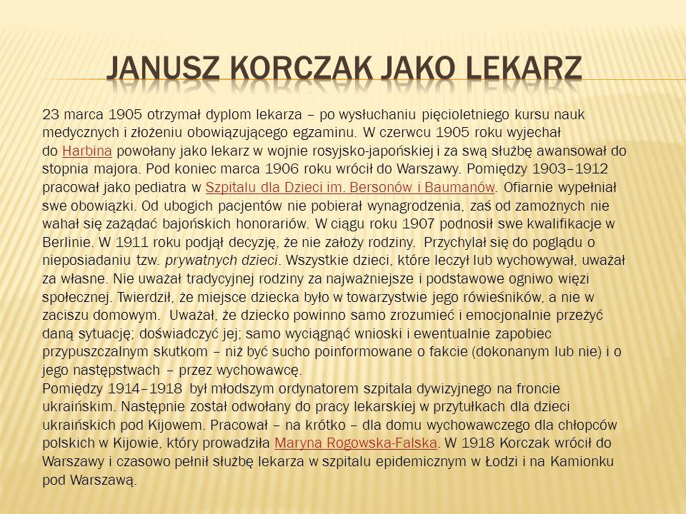 Janusz KORCZAK JAKO LEKARZ