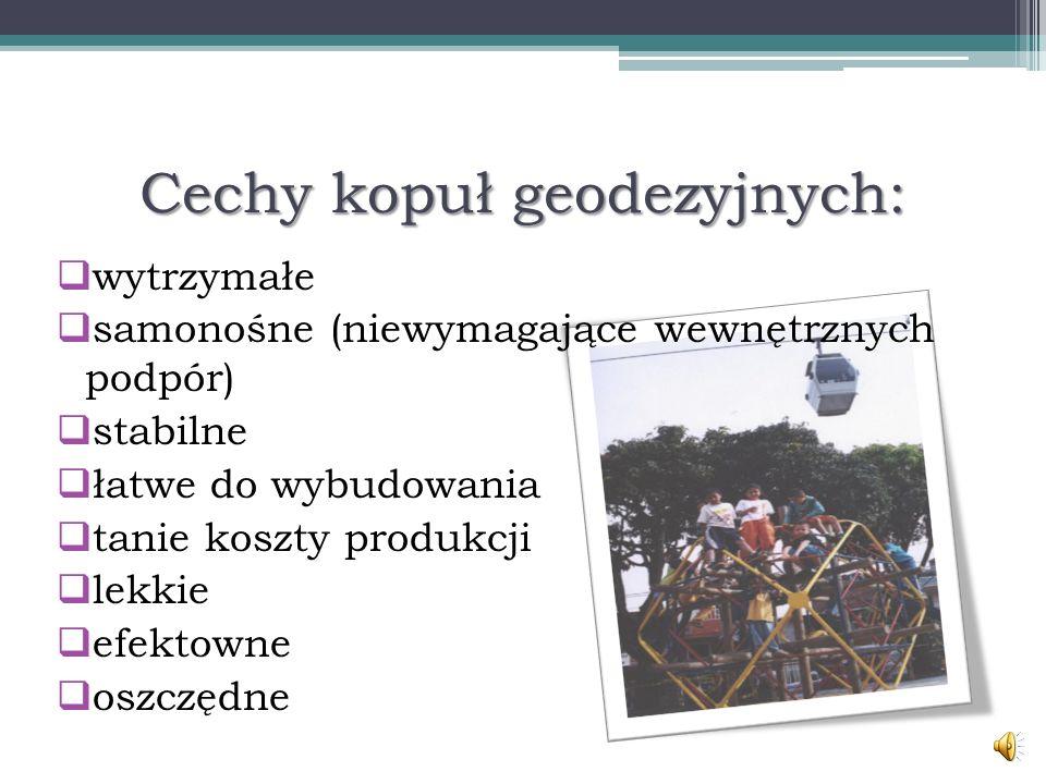 Cechy kopuł geodezyjnych: