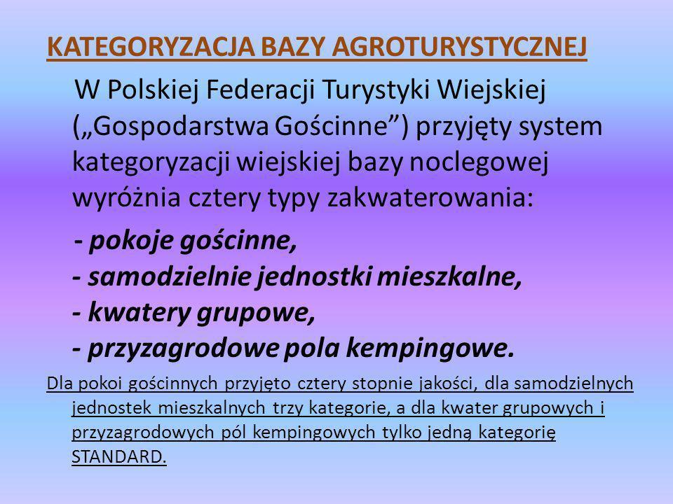 KATEGORYZACJA BAZY AGROTURYSTYCZNEJ