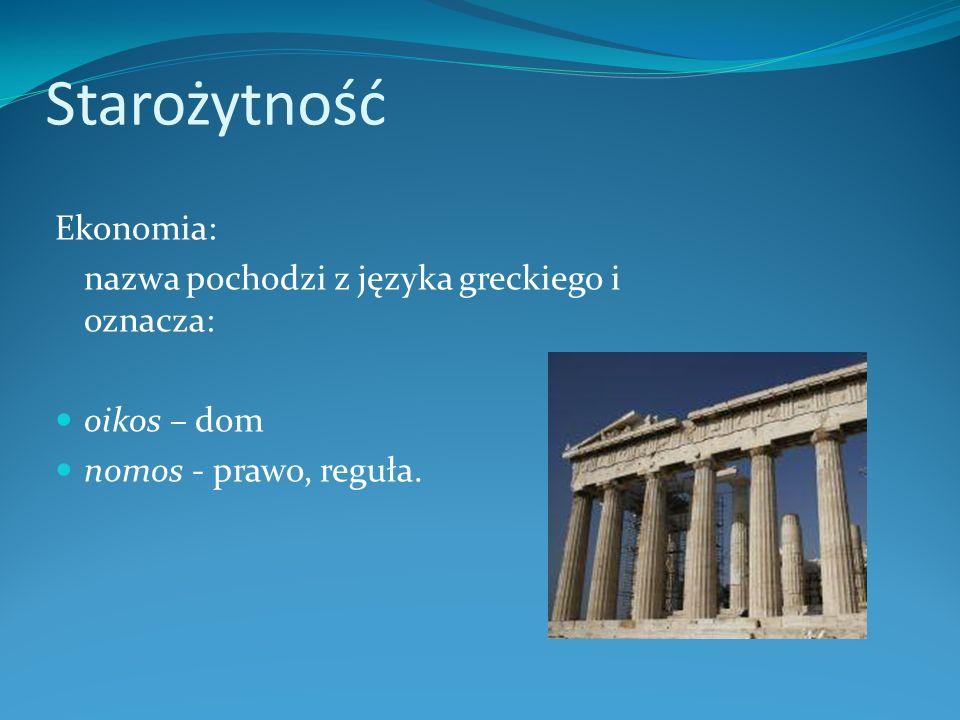 Starożytność Ekonomia: nazwa pochodzi z języka greckiego i oznacza: