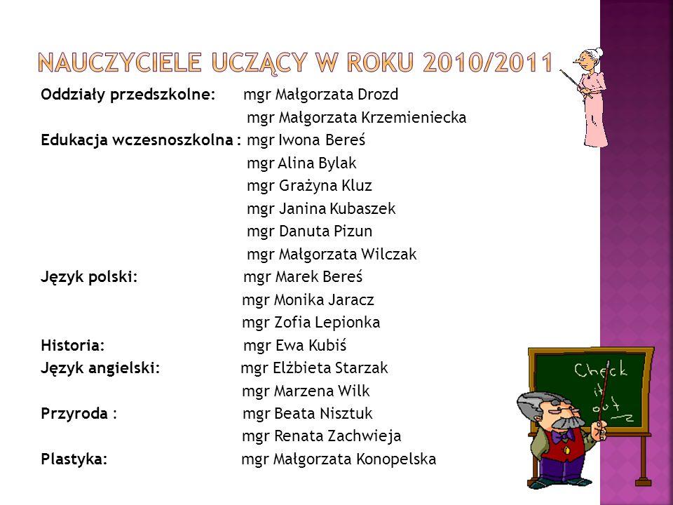 Nauczyciele uczący w roku 2010/2011