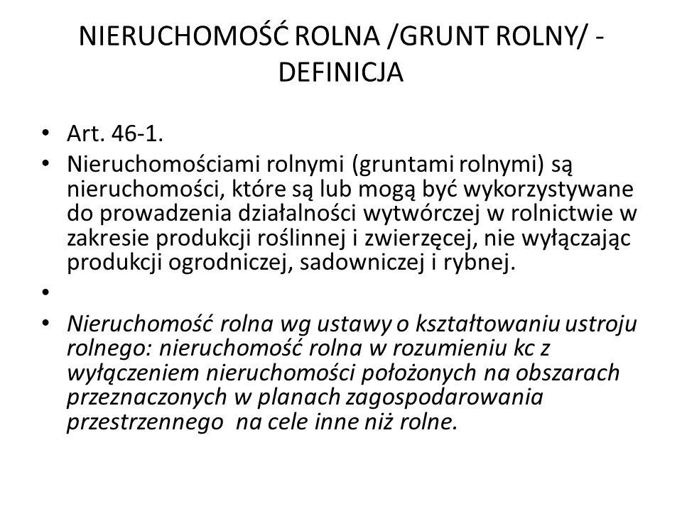 NIERUCHOMOŚĆ ROLNA /GRUNT ROLNY/ -DEFINICJA