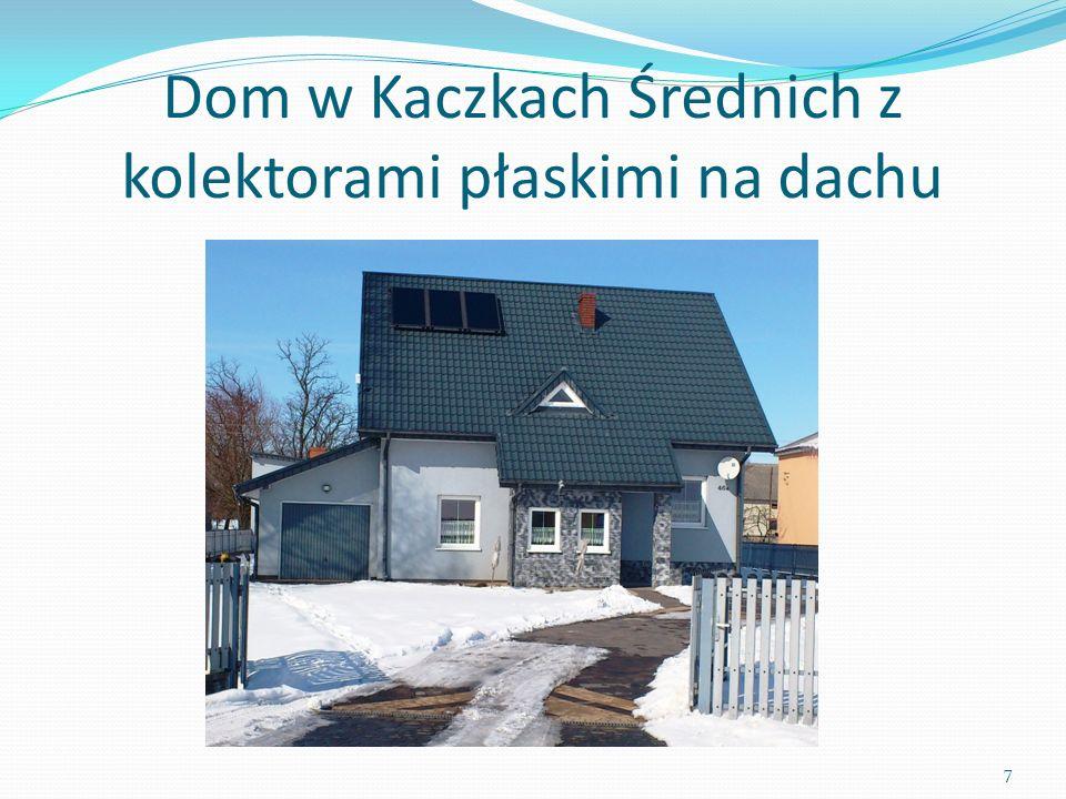 Dom w Kaczkach Średnich z kolektorami płaskimi na dachu