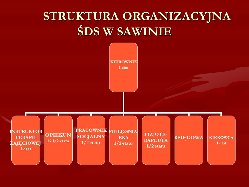 STRUKTURA ORGANIZACYJNA ŚDS W SAWINIE