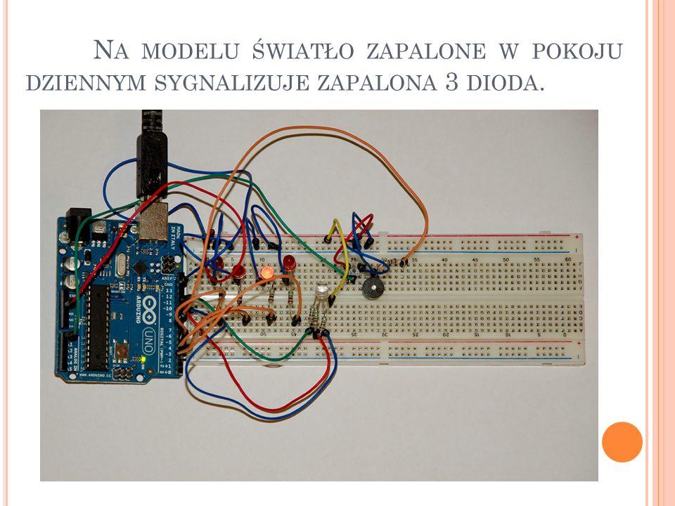 Na modelu światło zapalone w pokoju dziennym sygnalizuje zapalona 3 dioda.