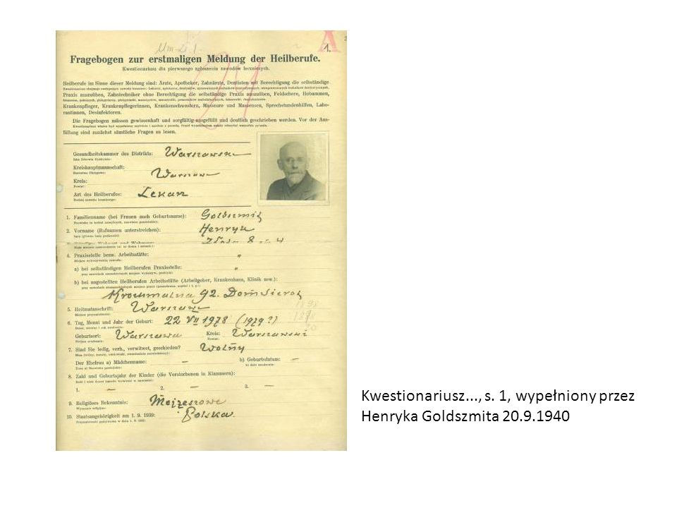 Kwestionariusz..., s. 1, wypełniony przez Henryka Goldszmita 20.9.1940