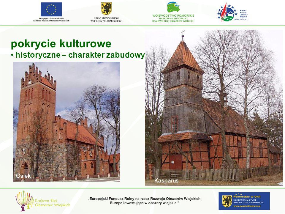 pokrycie kulturowe historyczne – charakter zabudowy Osiek Kasparus