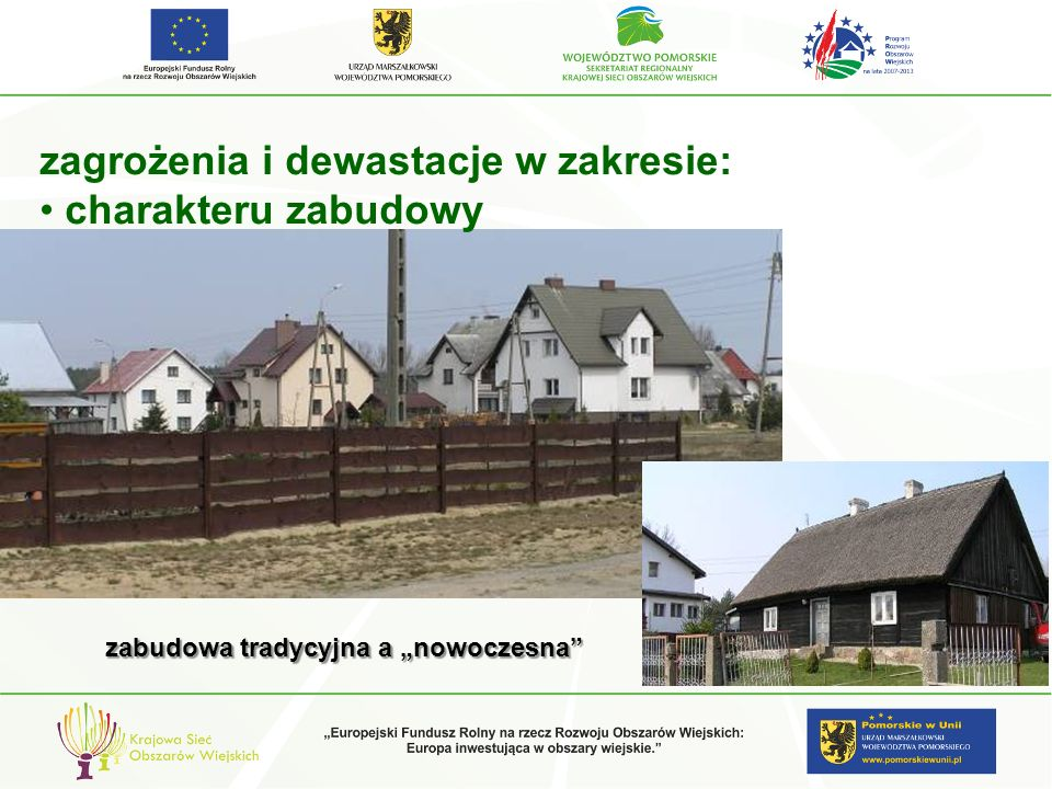 zagrożenia i dewastacje w zakresie: charakteru zabudowy